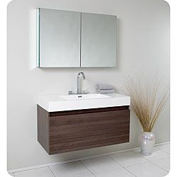 fresca mezzo gray oak bathroom vanity with medicine cabinet rh pinterest com