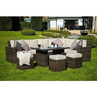 Santa Rosa Outdoor 8 Piece Wicker Sofa Patio Dining Set By Direct And Pinterest
