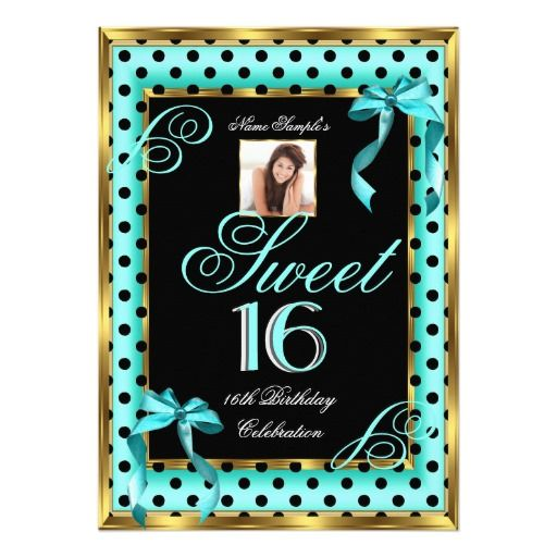 Sweet 16 Teal Blue Gold Photo 16th Birthday Spots Card