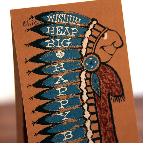 Vintage Native American Chief Birthday Card Native Americans