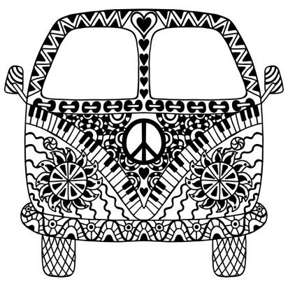 hippie van coloring pages | Pin by Coloring Pages for Adults on Coloring Pages for Adults