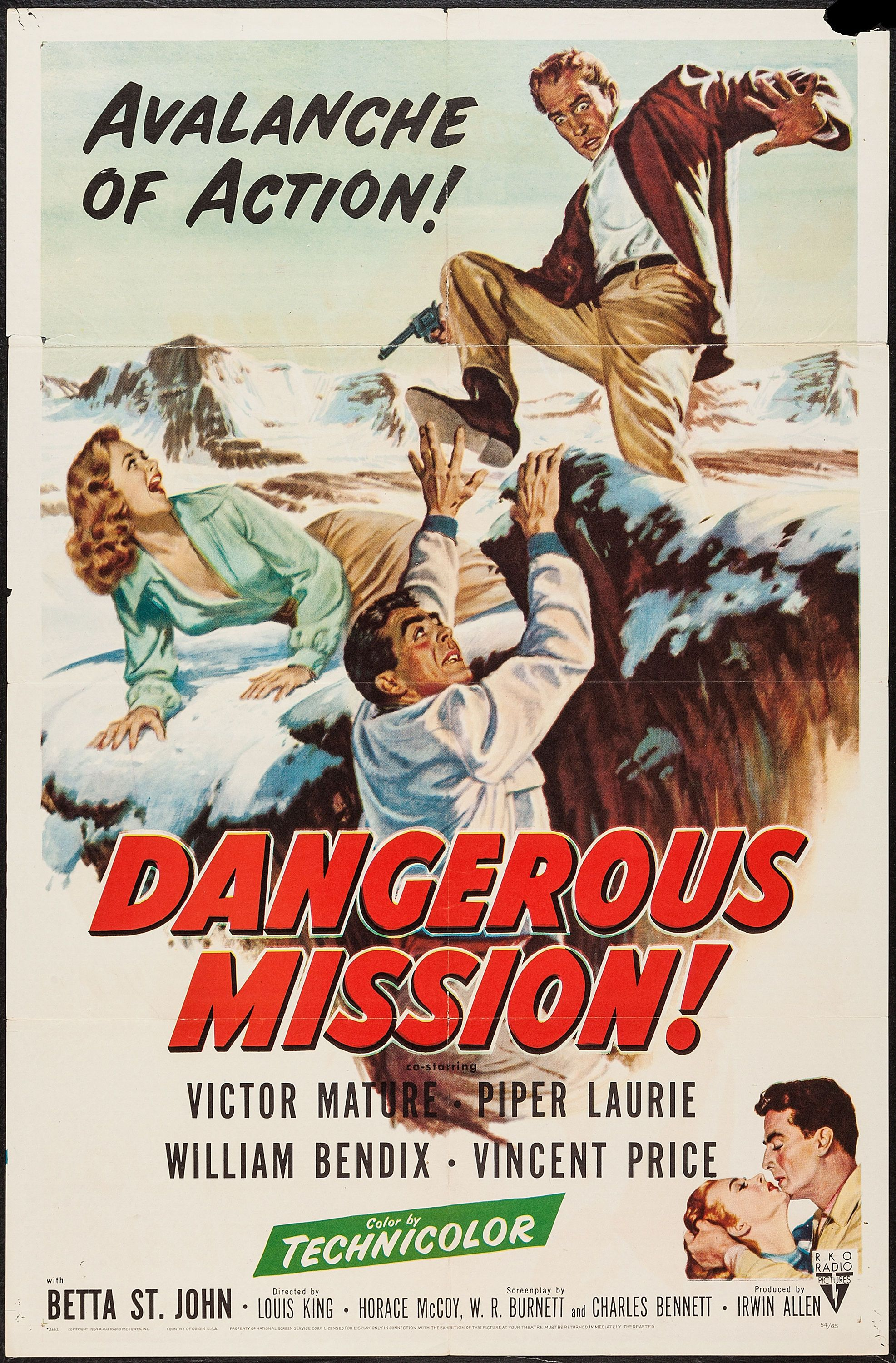 Dangerous Mission (1954) Stars: Victor Mature, Piper Laurie, William  Bendix, Vincent Price, Dennis Weaver ~ Director: Louis King
