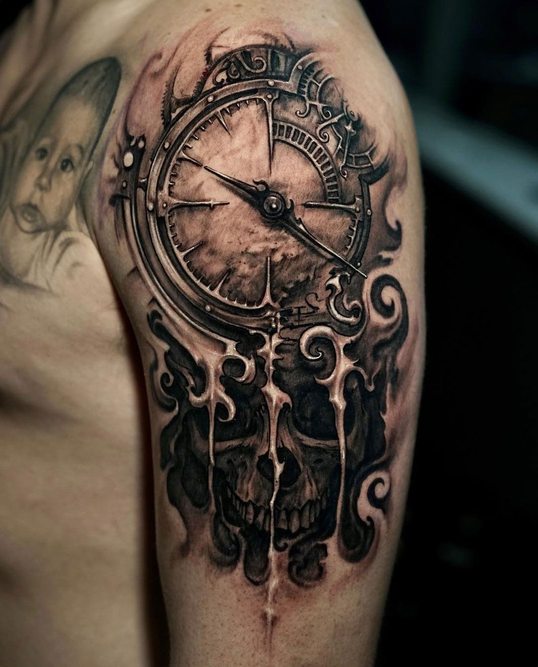 Clock & Skull Tattoos for guys, Cool tattoos for guys