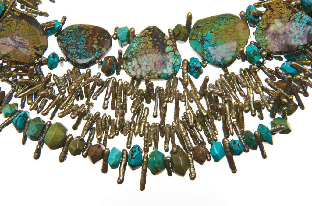 Multi-Strand Turquoise and Green Keishi Fresh Water Pearls Necklace