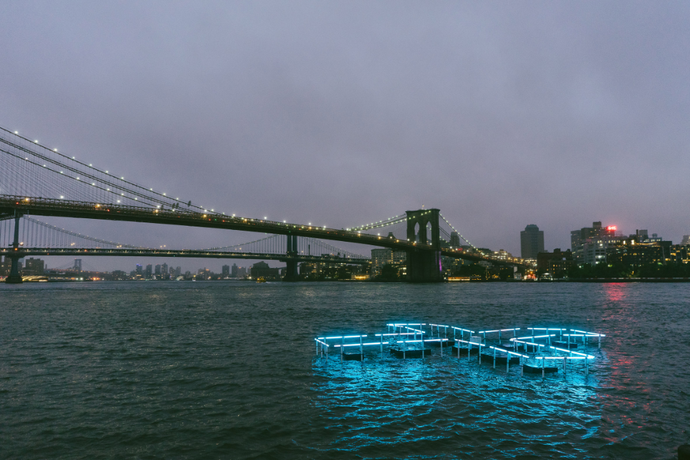 Floating Pool Light Installation Illuminates The East River To Test And Report On Water Quality