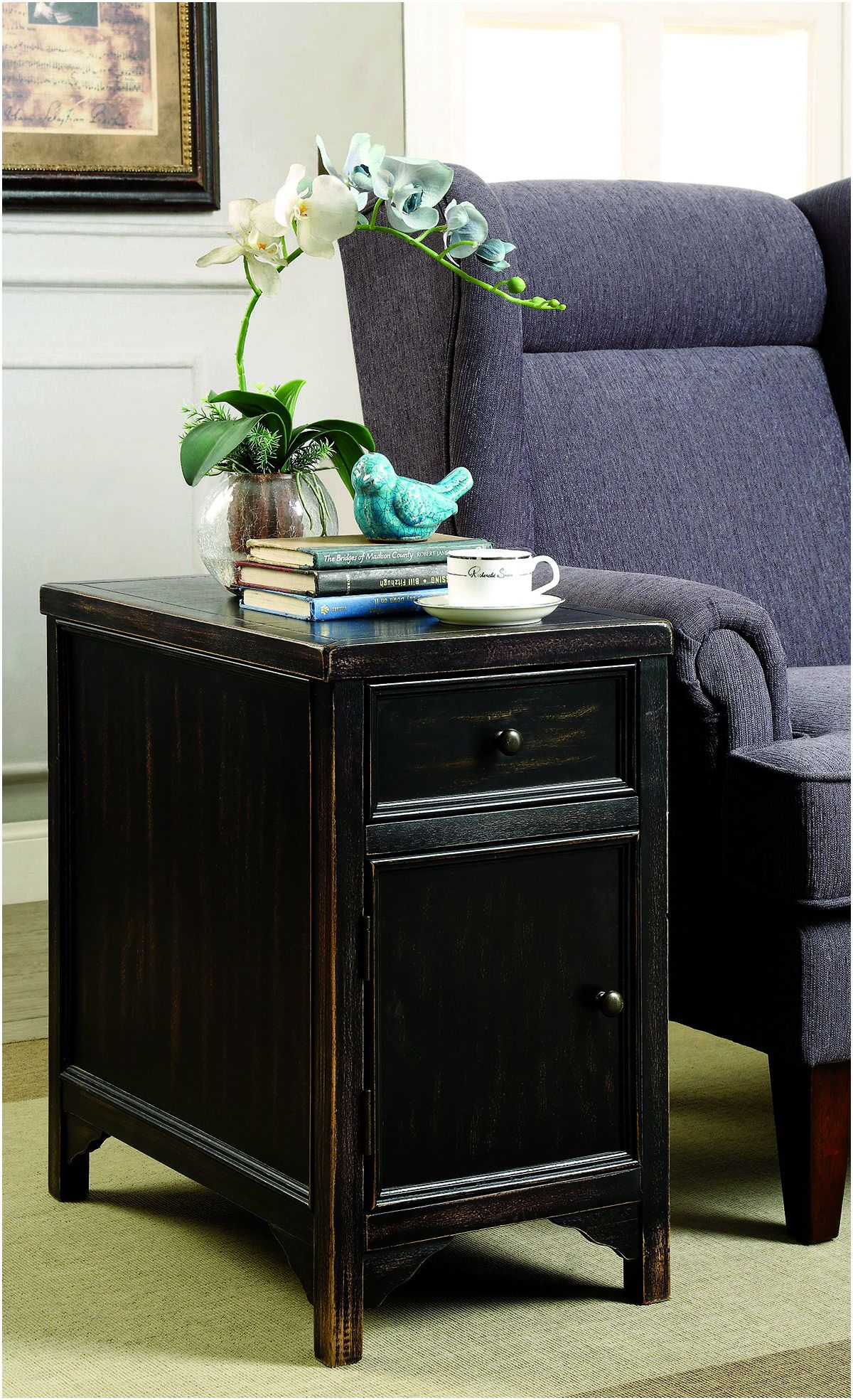 Best Furniture Of America Meadow Antique Black Side Table 640 x 480