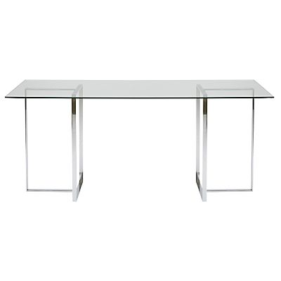 buy john lewis staten 140 clear glass top desk with steel trestles rh pinterest com