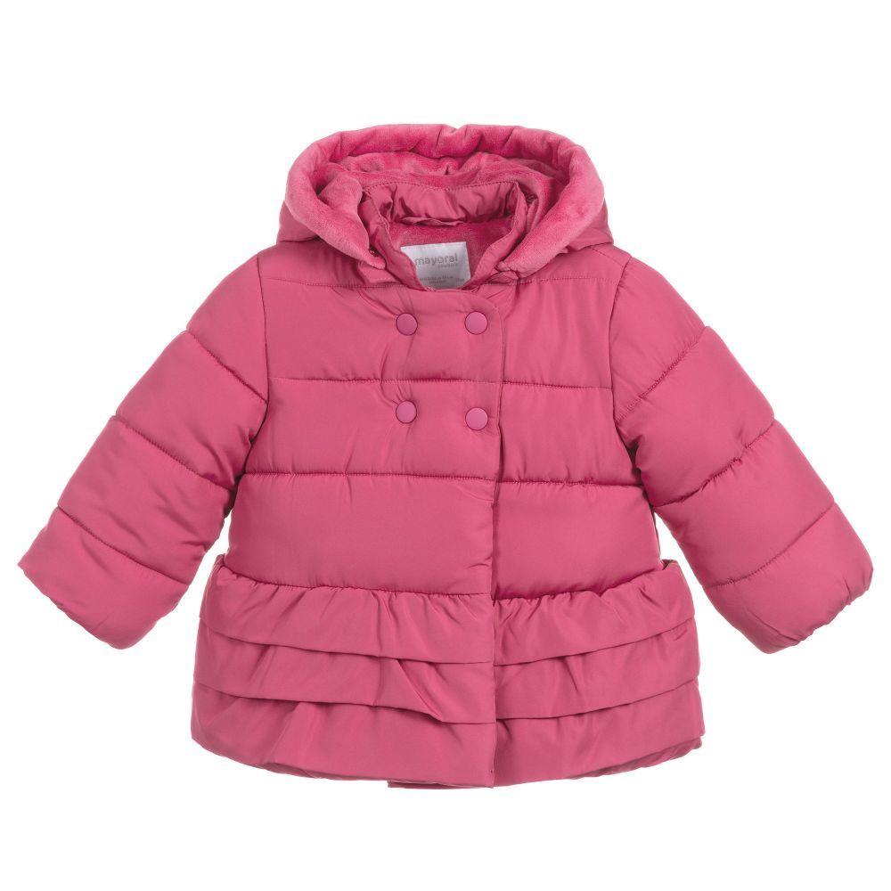 50b07ba5f Mayoral Baby Girls Pink Hooded Coat at Childrensalon.com