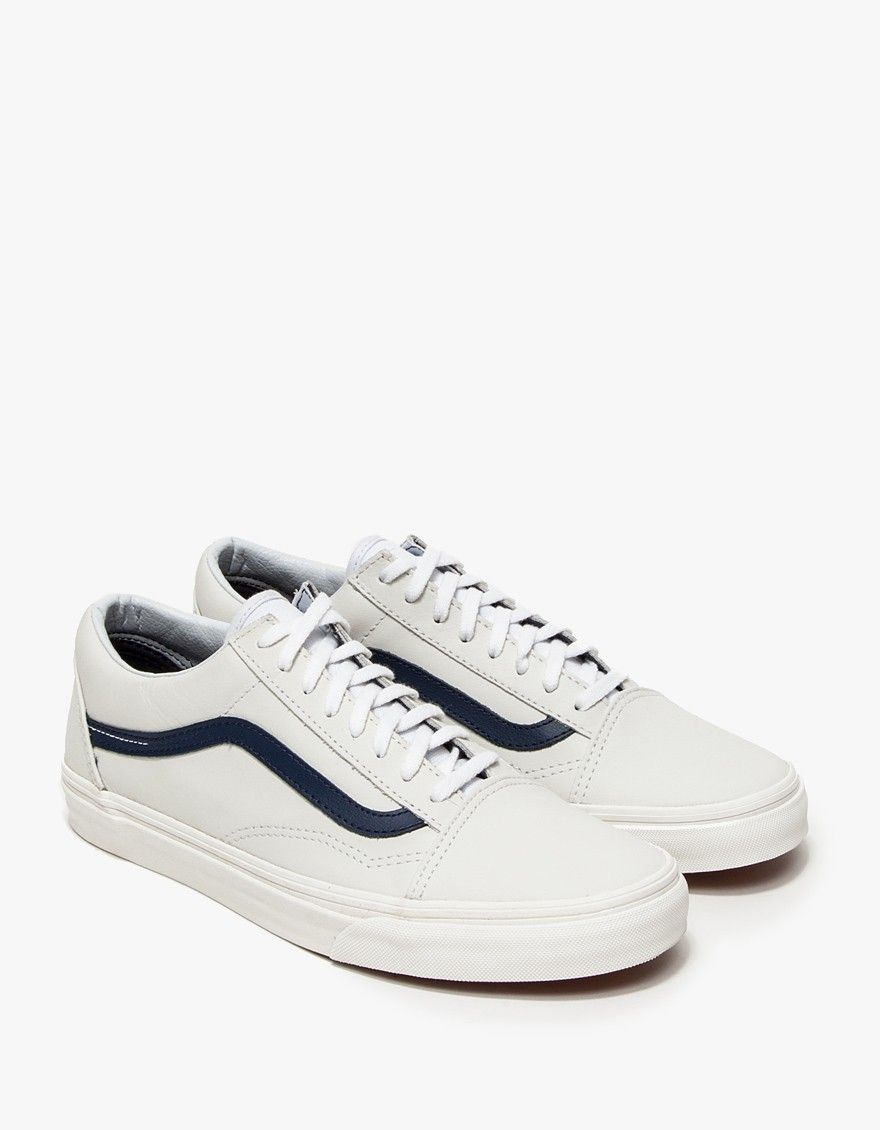 1fd4e8543c1 vans true whiteblue old skool in matte leather white