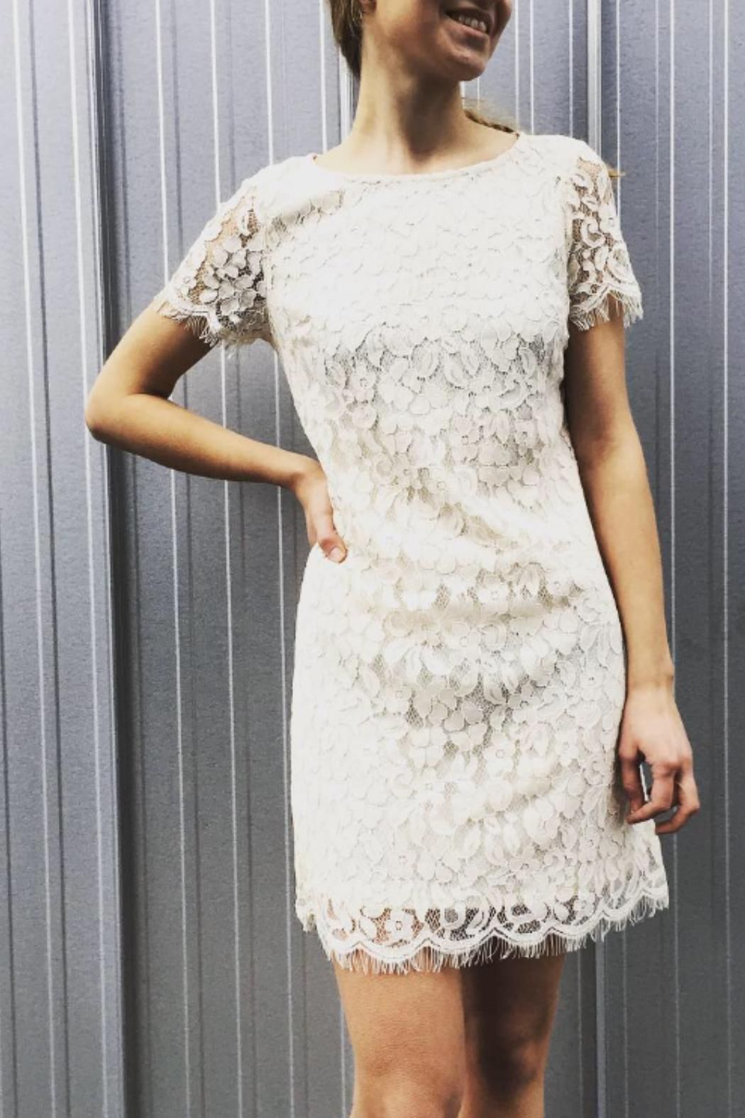 Off White Beige Lace Overlay Dress With Matching Lining No Lining At Cap Sleeves Not Fitted Around Waist Lace Overl Lace Overlay Dress Dresses Dress Outfits [ 1575 x 1050 Pixel ]