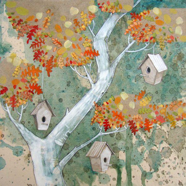 Tree with bird's houses illustration - Ilustración Árbol con casitas de pájaro