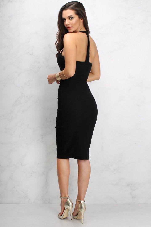 Black Cut Out Midi Bodycon Dress  f06a0d46f