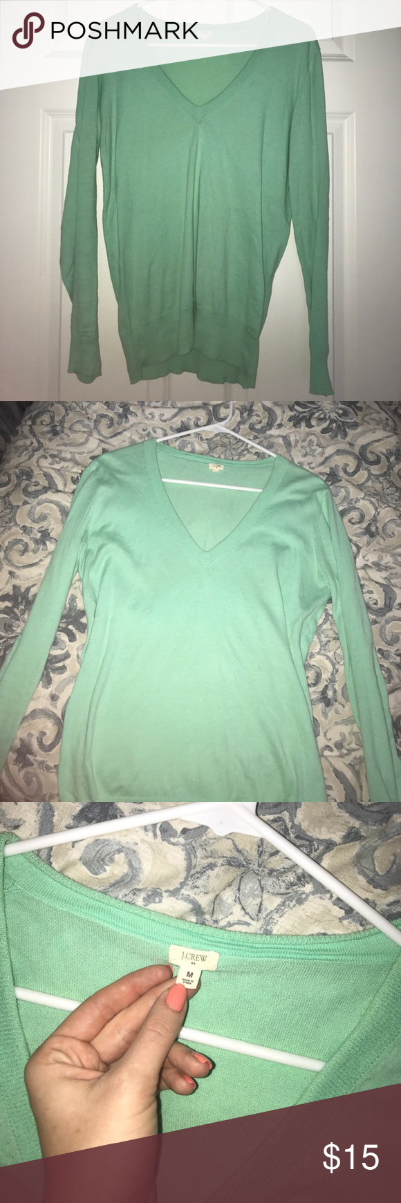 J. Crew Pastel Green Sweater Gently used Pastel Green V Neck sweater from j. Crew. Size Medium, the material is a thin cotton. Perfect spring sweater! In excellent condition! J. Crew Sweaters V-Necks
