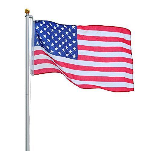 20ft Aluminum Sectional Flagpole Kit Free Us American Flag Outdoor Halyard Pole This Is A Brand New 20ft Aluminum Secti Flag Pole Kits Flag Pole American Flag