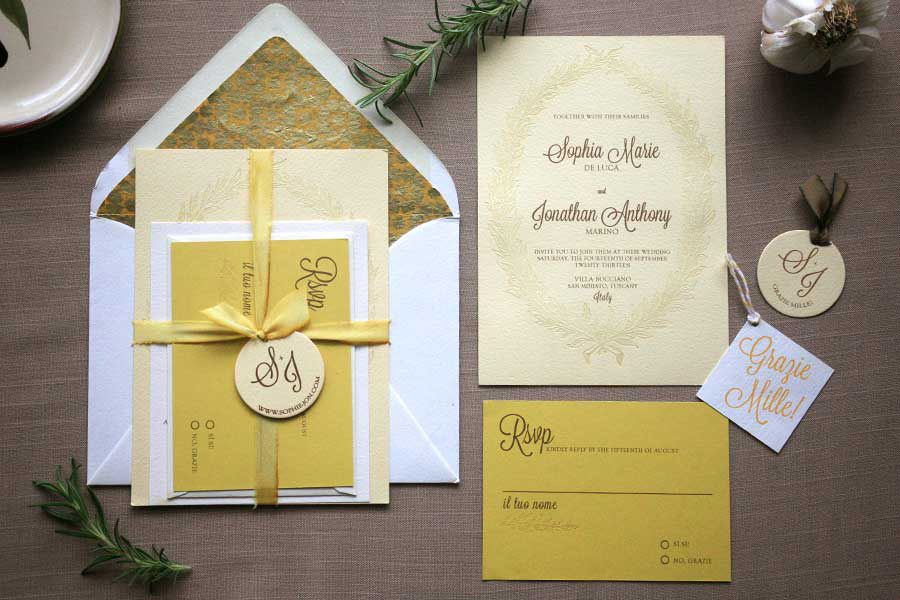 Invitation paper Simple ribbon to tie up