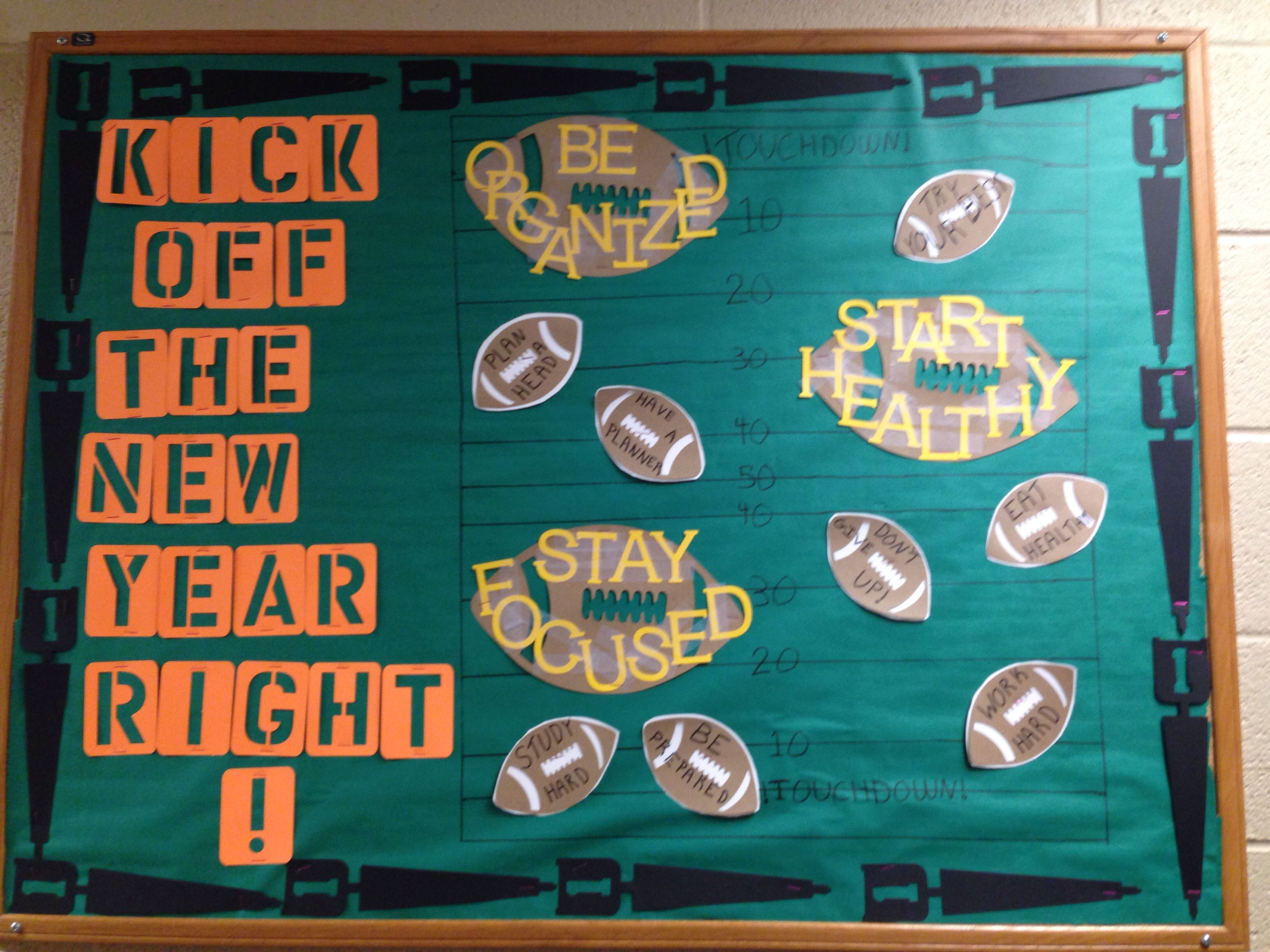 A new year bulletin board Football bulletin