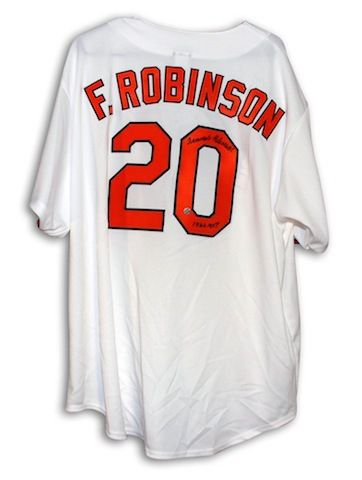 huge discount c7db5 f591b Autographed Frank Robinson Baltimore Orioles White Majestic ...