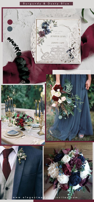 geometric burgundy and dusty blue floral laser cut wedding invitations EWDM012