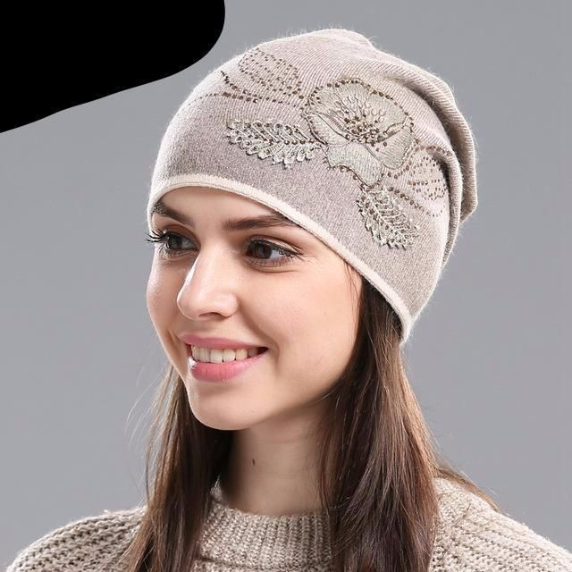 b231dc75dc18f0 IMISSU Women's Winter Hats Knitted Wool Skullies Casual Cap with Flower  Pattern Gorros Thick Warm Bonnet Beanie Hat for Women #WarmHatsForWomen ...