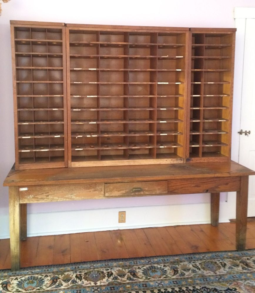 Antique Post Office Sorting Desk Apothecary Cabinet Vintage Shelves Storage Rare