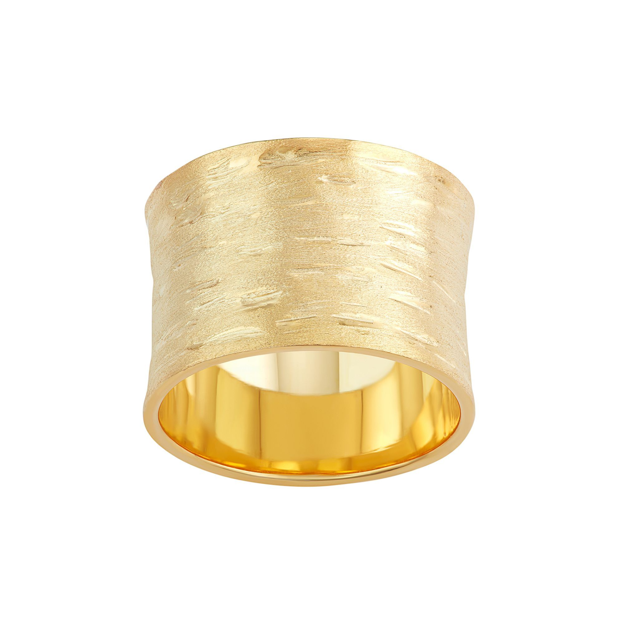 18k Gold Over Silver Textured Cigar Band Ring Womens Size 6