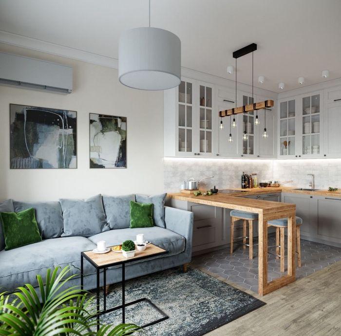 Kleines Wohnzimmer Mit Essbereich Ideen Moderne Wohnzimmereinrichtung In Grau Und Weiss Wanddeko Ideen In 2020 Wohnzimmer Einrichten Kleine Wohnkuche Kleines Wohnzimmer
