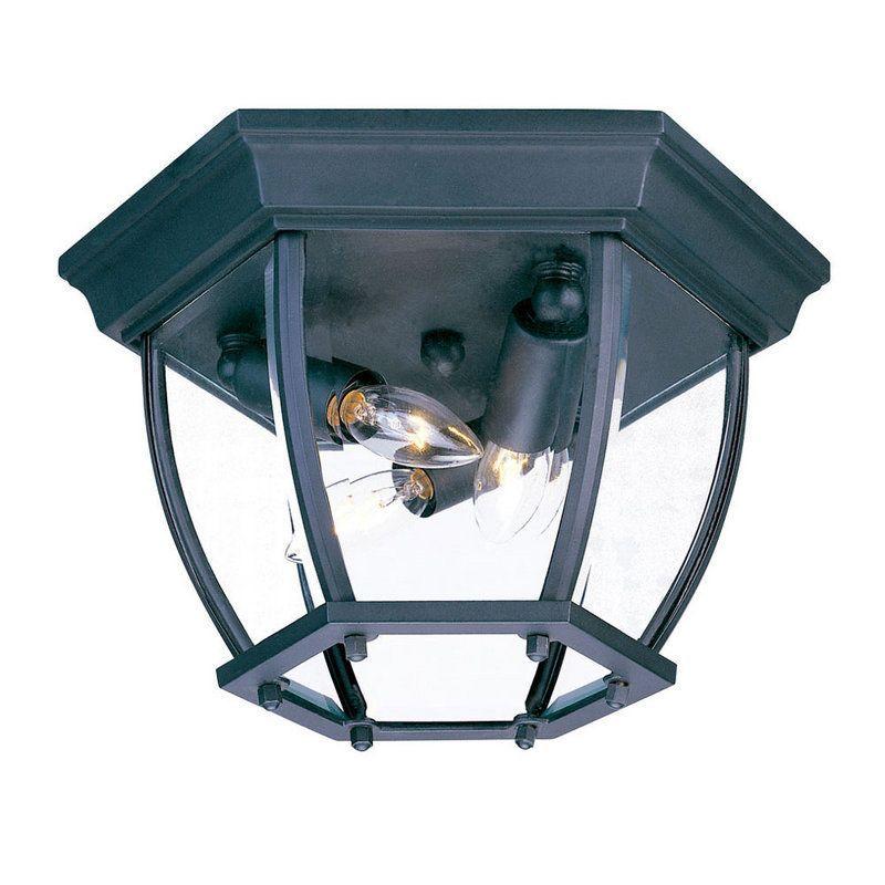 "Acclaim Lighting 5602 3 Light 11"" Width Outdoor Flushmount Ceiling Fixture Matte Black / Clear Beveled Glass Outdoor Lighting Ceiling Fixtures Flush"