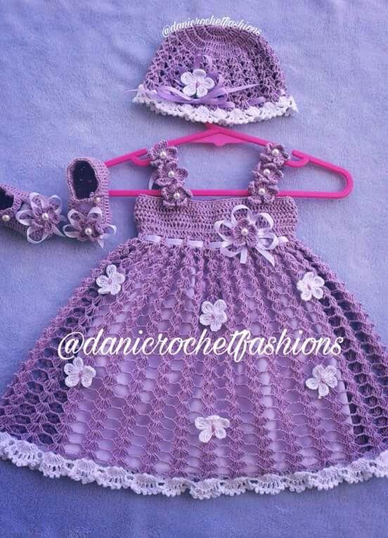 Daniela Benítez   Crochet   Pinterest   Vestidos para bebes ...