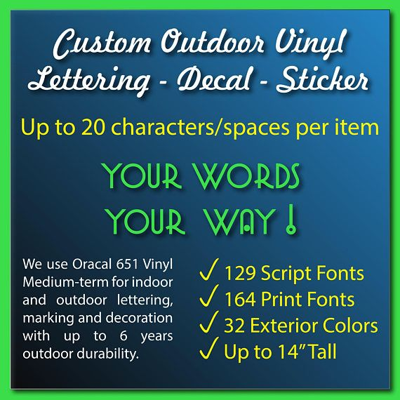 Custom vinyl lettering decal sticker window decal