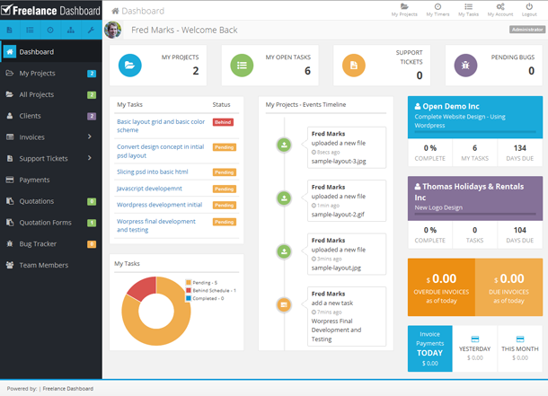 PHP Scripts - Freelance Dashboard - Project Management CRM ...