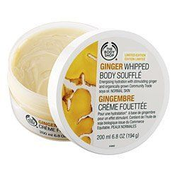 The Body Shop Ginger Whipped Body Souffle - 6.8 Oz. by The Body Shop. $14.99. The Body Shop Ginger Whipped Body Souffle. 6.8 oz.. limited edition - hard to find. w/ Community Trade organic soya oil. great gift idea !