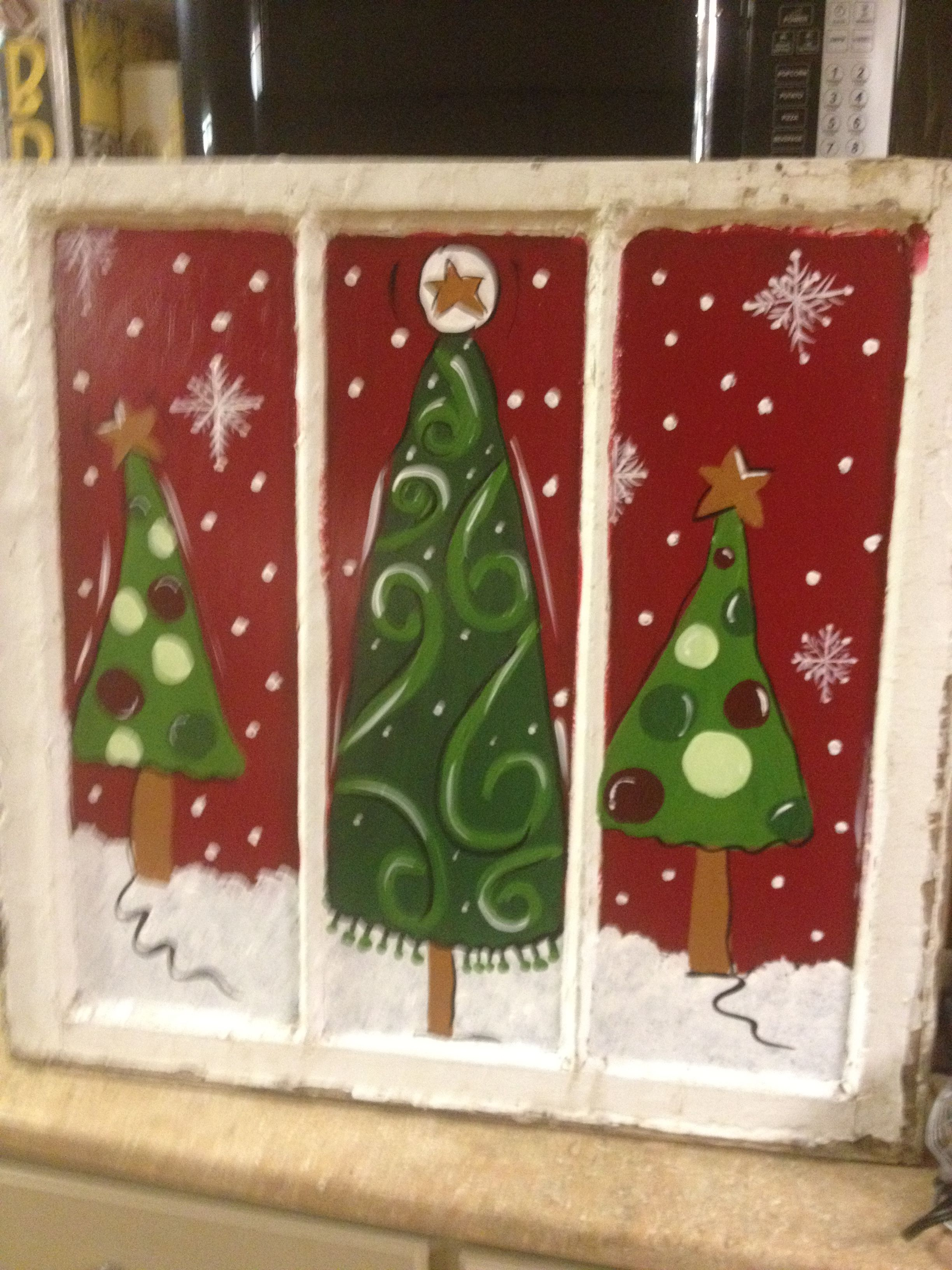 Painted Christmas Window I Painted For Joannie Christmas Window Painting Christmas Paintings Painting On Glass Windows