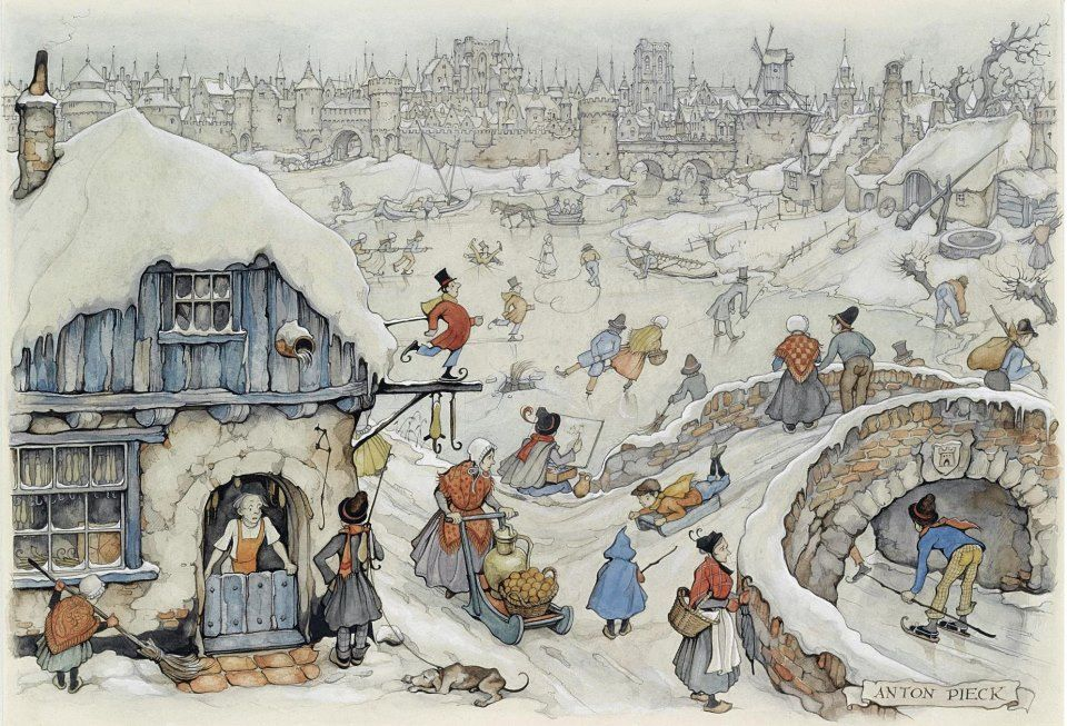 Anton Pieck (Dutch artist) 1895 - 1987, Winter Fun on the Ice, s.d., watercolour, 23.5 x 34 cm., signed l.r.
