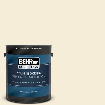 Behr Ultra 1 Gal W D 420 Beach White Satin Enamel Exterior Paint And Primer In One Exterior Paint Interior Paint Behr