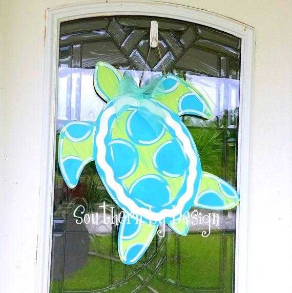 Chevron Baby Turtle Door Hangerwplaque