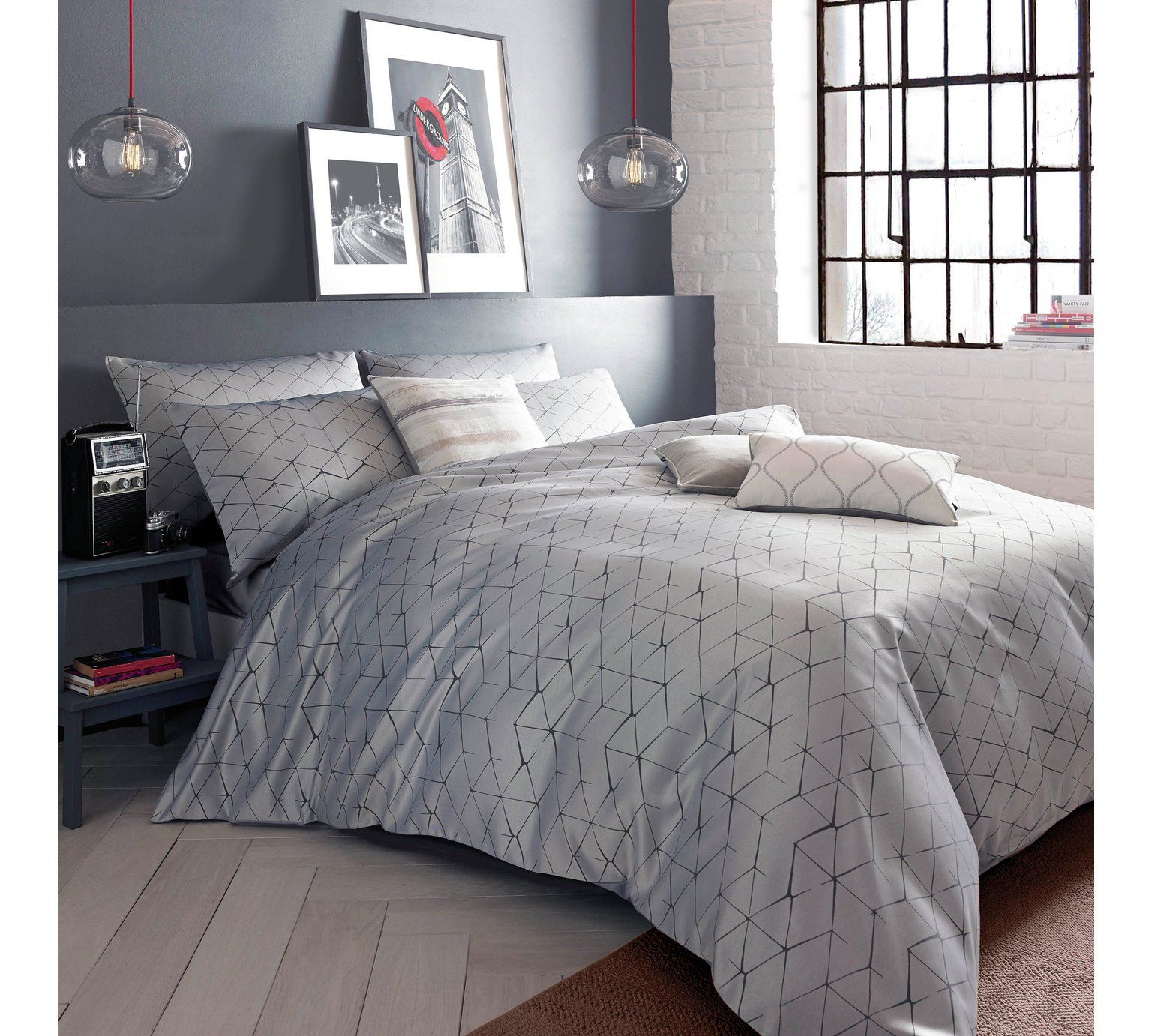 buy the blueprint collection danuka charcoal bedding set double at rh pinterest co uk
