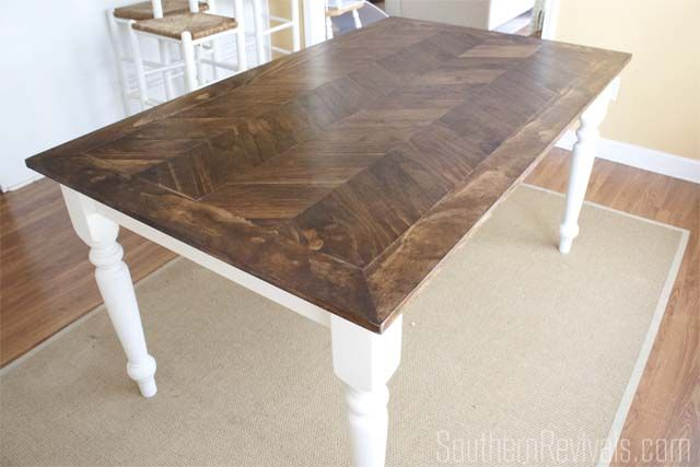 From Tile Top To Herringbone Table Makeover Kitchen Table
