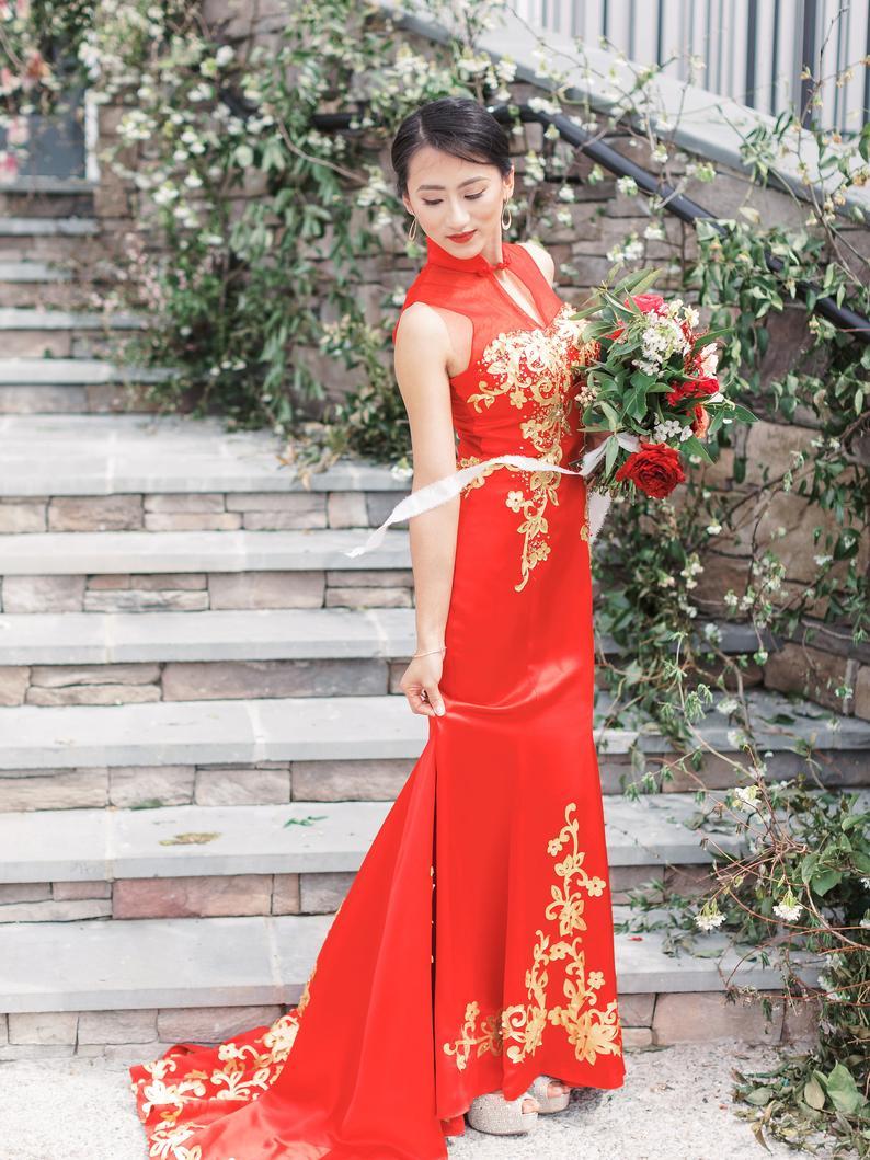Cheongsam Wedding Dress Chinese Wedding Dress Custom Qipao Etsy Cheongsam Wedding Qipao Wedding Chinese Wedding Dress [ 1059 x 794 Pixel ]