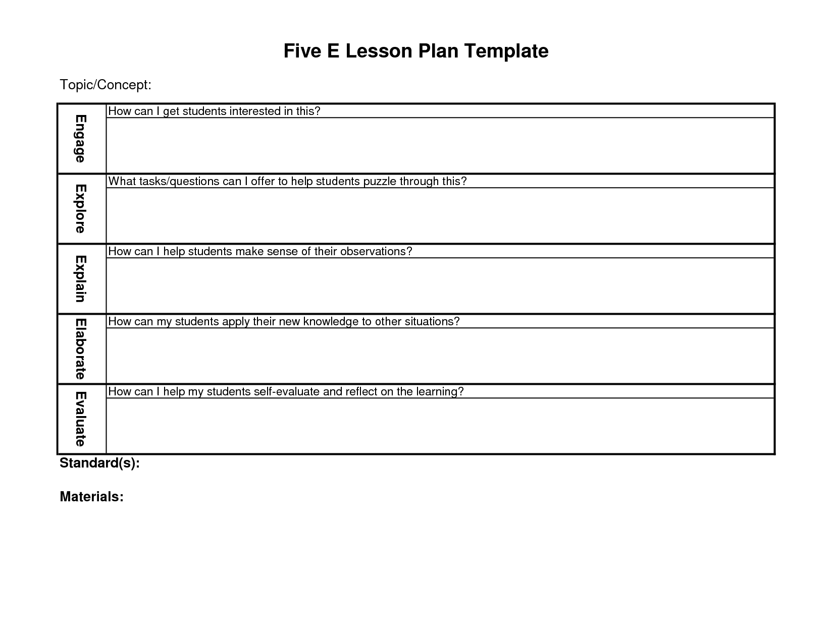 5-e lesson plan template | Blank Lesson Plan Template | School ...