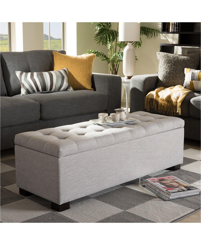 Furniture Roanoke Grid-Tufting Storage Ottoman Bench ...