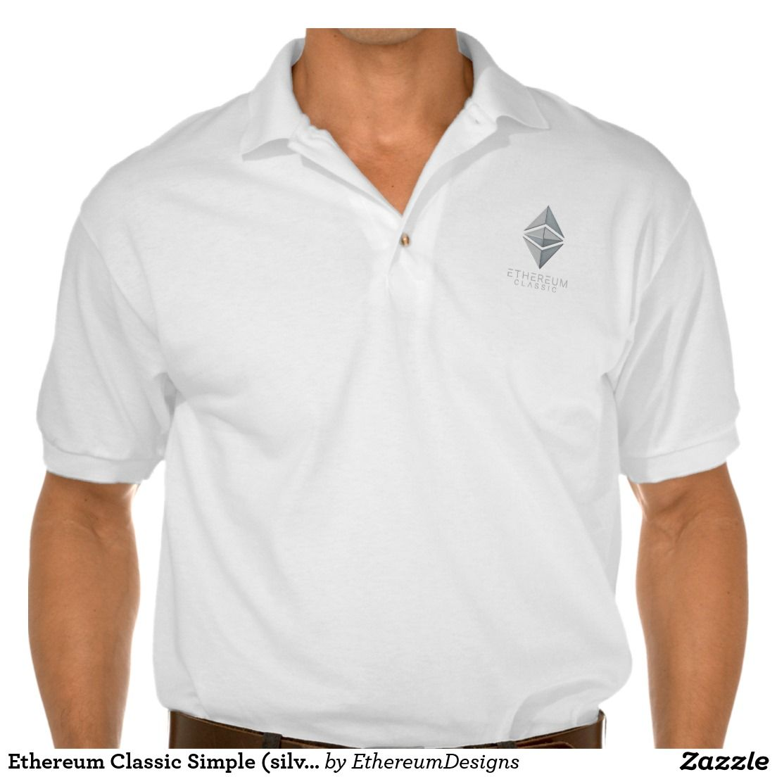Ethereum Classic Simple (silver) Polo Shirt on Zazzle. Designed by Andras Balogh | http://andras.design