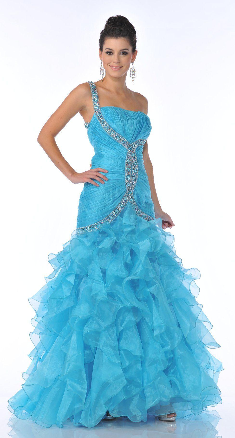 Elegant turquoise one shoulder embellished strap prom dress ruffle