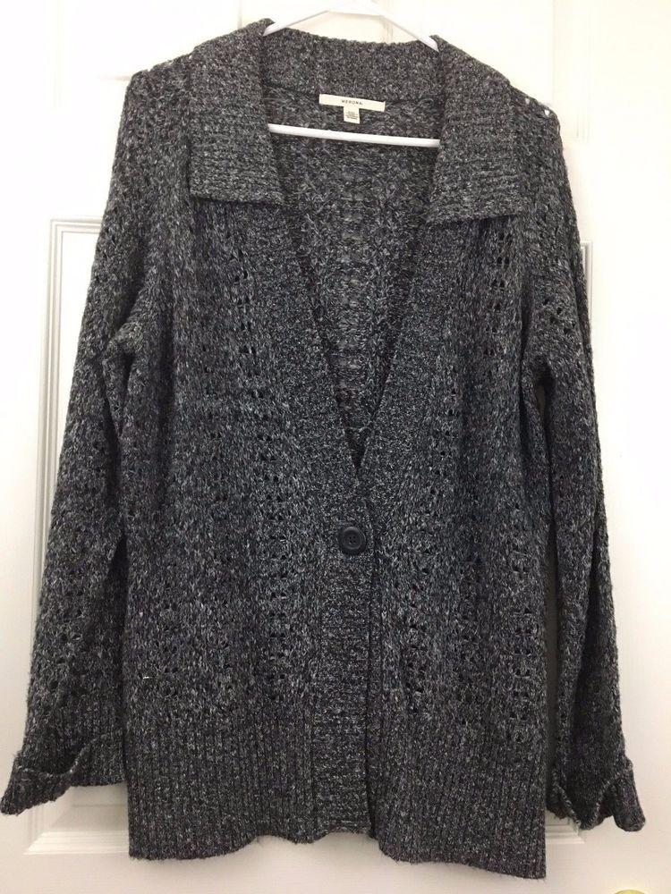79613d38461 Merona Cardigan Sweater Button Loose Knit Long Sleeve Blue Gray Plus Size  XXL  Merona  Cardigan  Casual