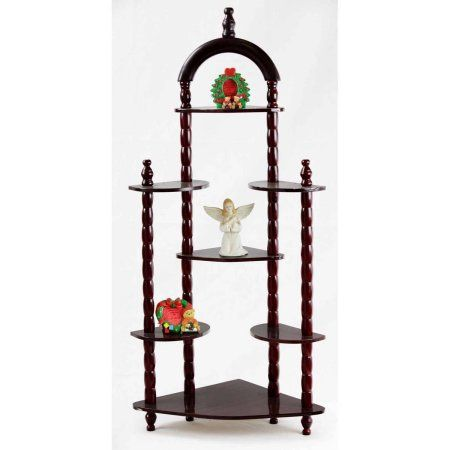 home craft 3 tier wall corner shelves cherry brown products rh pinterest com