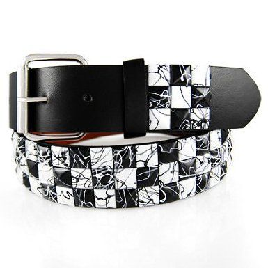 GENUINE LEATHER SNAP ON BLACK WHITE STUDDED BELT WITH A