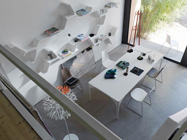 Modulares Design Wandregal bietet unendlich verschiedene - designer arbeitstisch tolle idee platz sparen