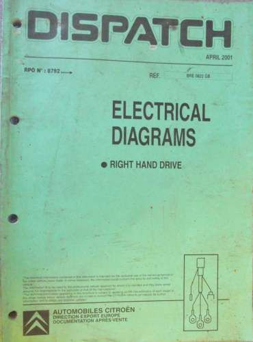 wiring diagram citroen dispatch van citroen dispatch electrical diagrams manual rhd 2001 bre0822gb  citroen dispatch electrical diagrams