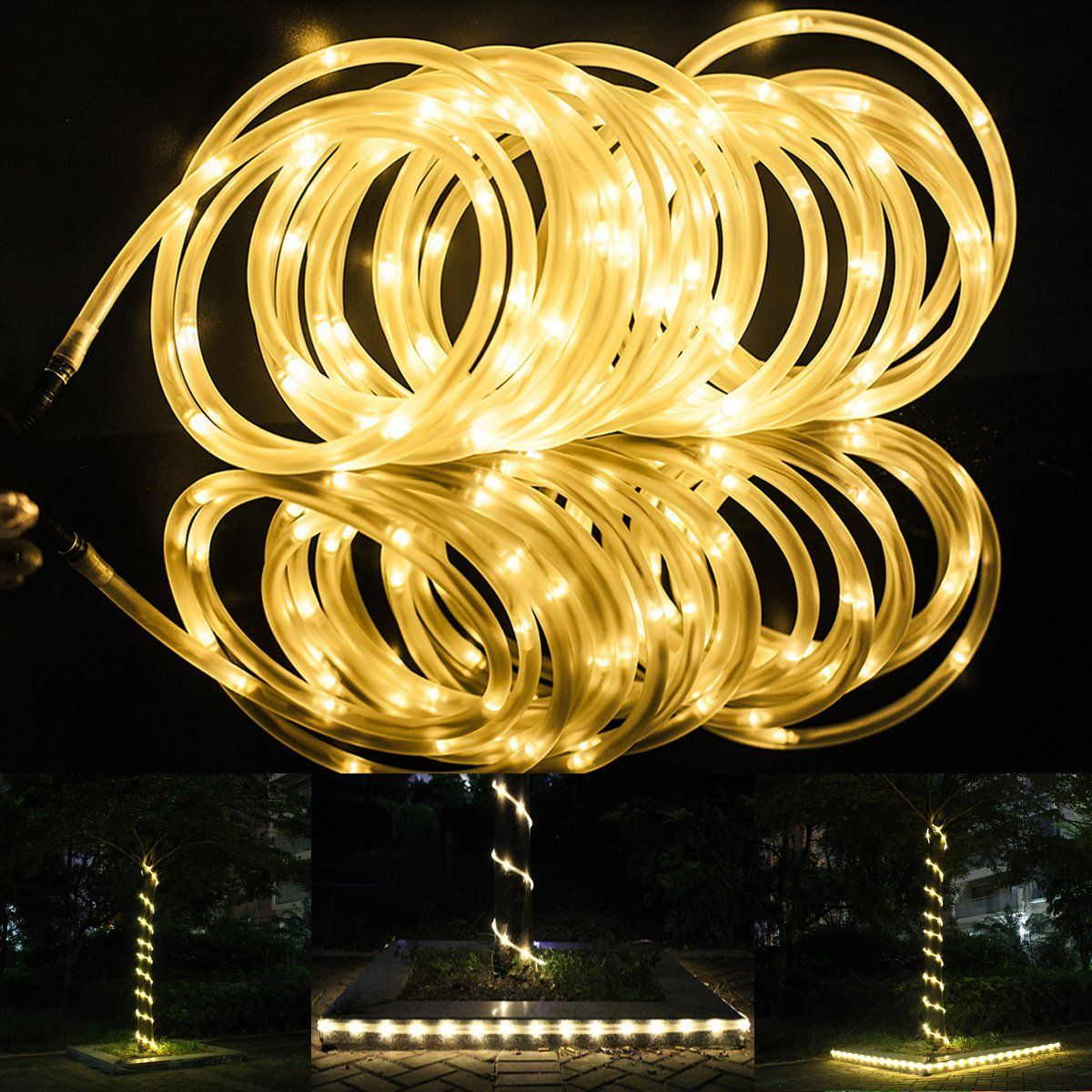 White Rope Lights Outdoor Lte 50 leds solar rope lights total length of 23ft warm white lte 50 leds solar rope lights total length of 23ft warm white outdoor workwithnaturefo