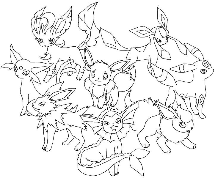 Pokemon Coloring Pages Eevee Evolutions Glaceon | LineArt: Pokemon ...