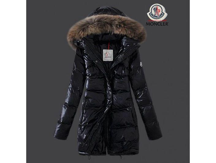 6c01954a3 sale Moncler Damen Chic schwarze lange Daunen mantel Pelz Kragen ...